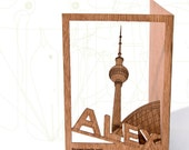 postcard wood - 3 Berlin Alexanderplatz cards