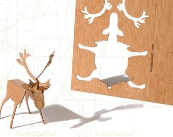 postcard wood - 3 reindeer cards