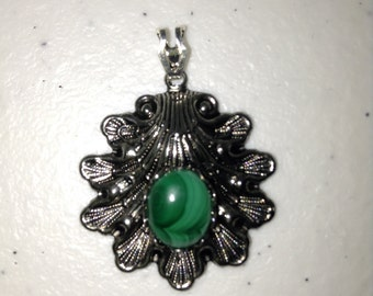 Malachite in Antiqued Silver Mounting