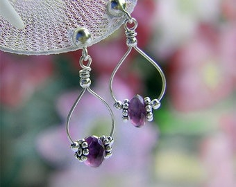 Amethyst Stud Dangle Earrings, Sterling Silver, Wire Wrapped Gemstone, February Birthstone, Purple Earrings