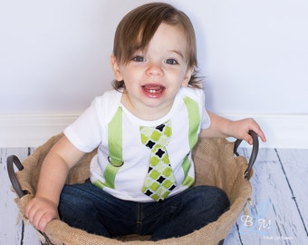 Baby Boy tie one piece bodysuit with suspenders, green, black, argyle, photo prop, baby boy fashion, formal wear