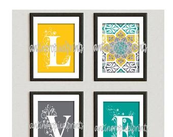Home Decor Digital Love Blue Green Greys White Wall Art Vintage / Modern Inspired -Set of (4) - 8x10 Prints -  (UNFRAMED) #95394674