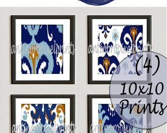 Navy Light Blue Khaki White Damask Ikat Art Prints Collection - Set of (4) -10 x 10 Prints - (UNFRAMED) Custom Colors Available