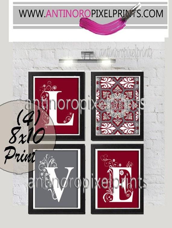 Home decor digital love burgundy grey wall art vintage for Best home decor on etsy