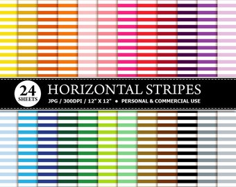50% OFF SALE 24 Horizontal Stripes Digital Scrapbook Paper, digital paper patterns for card making, invitations, scrapbooking