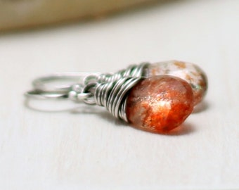Sunstone Earrings, Oxidized Sterling Silver Orange Gemstone Earrings Wire Wrapped Drop Dangle Earrings Sunstone Jewelry