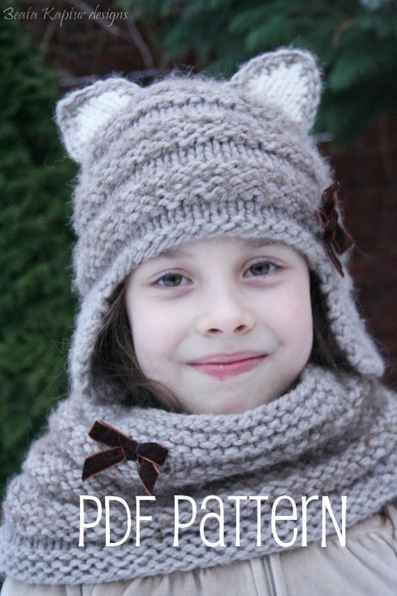 Knitting Pattern For Childrens Hats : Mia Hat & Cowl Set Knitting pattern Toddler Child and Teen