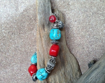 Southwest Queen - Sterling Silver, Turquoise and Red Coral Bracelet
