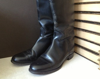 Black Leather Riding Boots, Made in England, Marlborough Equestrian Boots Womens Size 8,5 US