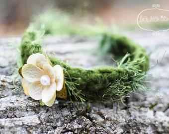 Moss newborn tieback flower, woodland  props baby girl headband, headwrap newborn Olive green, Off white, light Peach- Woodland halo tiara
