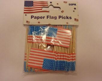 50 American flag paper picks (R2)