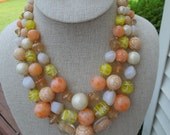 Vintage JAPAN Necklace and Earrings Set.  1950s.  Shades of Orange, Yellow and Cream in Glass and Plastic, Signed Japan