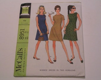 Vintage McCalls Pattern 8951 Miss Dress in two Versions