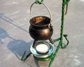 Small cauldron and tealight holder or stand for pagan, wiccan, wicca, witch, witchcraft, etc. Also use for lanterns