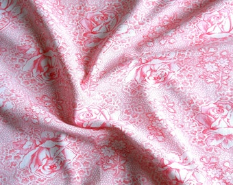 floral fabric  pink floral fabric  vintage fabric patchwork fabric antique fabric  pink roses french fabric shabby chic 145