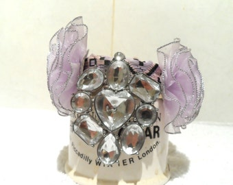Couture collar. Lilac silver dusted flowers and petals with faux gem center.