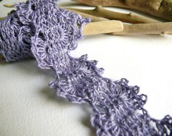 Crocheted Linen Edging, Lace Trim, Shabby chic Decorations, Wedding decor - Lavender blue
