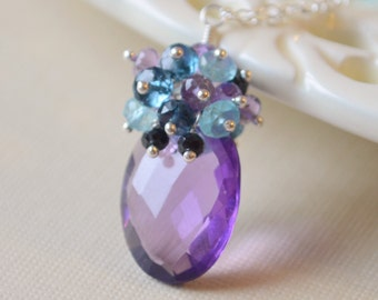 Gemstone Necklace, Peacock Colours, Genuine Amethyst, Apatite, London Blue Topaz, Sterling Silver - Purple Peacock - Free Shipping
