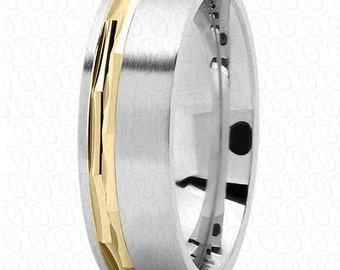 Men's Wedding Band White Gold with Yellow Gold Inlay