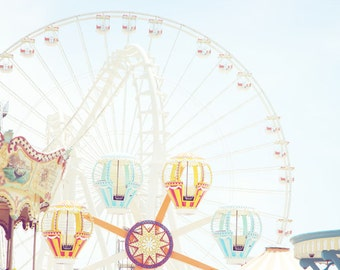 Amusement Pier, Ferris Wheel, Nursery Decor, Wildwood NJ, Fine Art Photograph 16x20, Jersey Shore