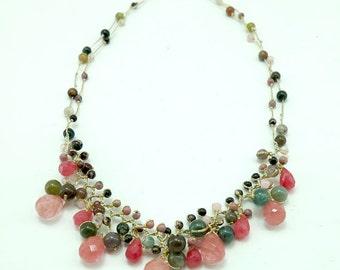 tear drop cherry quartz,jasper hand knotted silk thread necklace
