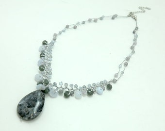 Drop agate pendant,quartz hand knotted on silk thread necklace.