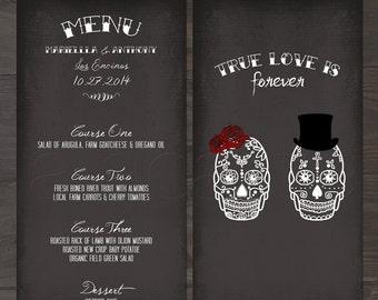Skulls  -  Til Death Do Us Part  Chalkboard inspired Wedding Menu
