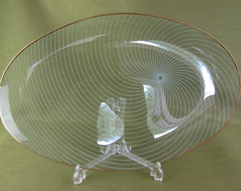 Large Long Oval Spiral Pattern Glass Dish Decorative with Gold Trim