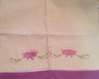 Set of 2 White with purple flowers Hand embroidered king size pillowcases