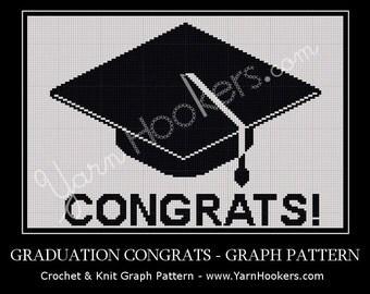 Graduation Congrats - Afghan Crochet Graph Pattern Chart - Instant Download