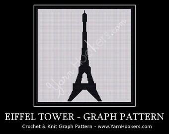 Paris Eiffel Tower Landmark - Afghan Crochet Graph Pattern Chart - Instant Download