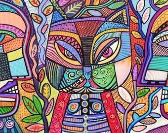 Tribal Mosaic Cat Garden )(  SILBERZWEIG Original Folk Art PAINTING-12 x 24 in.- Mexican, Aztec, Talavera, Man, Woman, Tree Of Life, Native