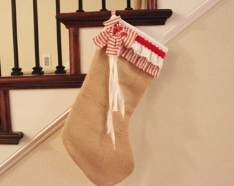 READY TO SHIP! Burlap, White and Red Stripe Ruffle Stocking 1736