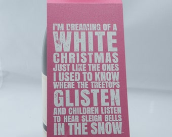 Christmas Wine Bottle Tag in Pink and White