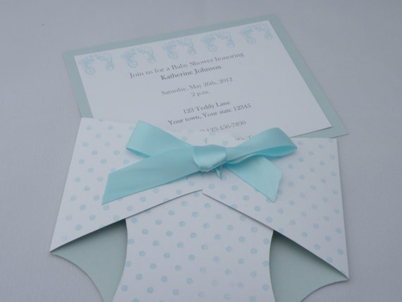 diaper baby shower invitation announcement in blue pink yellow or