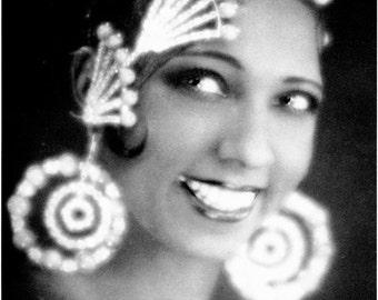 Vintage Postcard African American Actress JOSEPHINE BAKER Paris Folies Bergère Dancer Flapper Art Deco hairdress earrings Photograph Man Ray