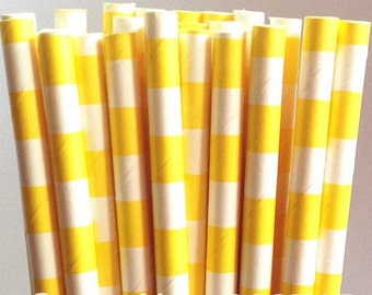 Yellow Sailor Striped Paper Straws