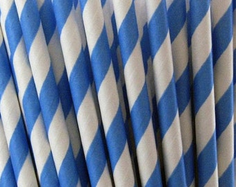 Sky Blue Striped Paper Drinking Straws