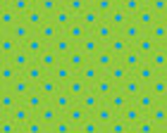 Ellen Medlock fabric Summer DOT - Turquoise on Green