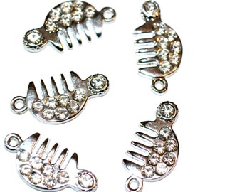 4pc Hair Comb Charms / Rhinestone Charm/ Pendant / Bracelet Charms / Necklace Charms