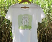 Inventory Clearance: Humorous Vegan t-shirts - Mice discover vegan cheese comic on white ring spun cotton t-shirt.