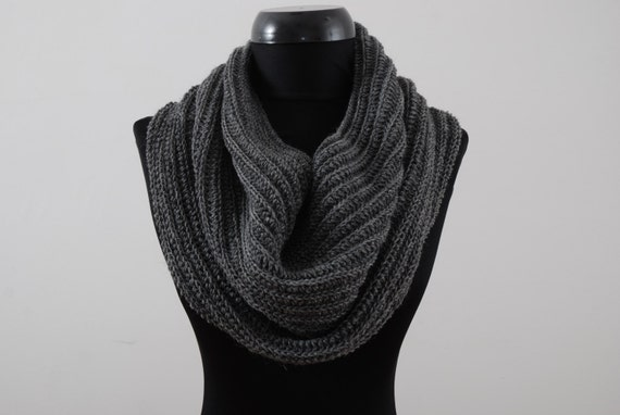 Charcoal Infinity Scarf Men. Unisex. Hand Knitted Winter Mens Scarves. Men Knit Scarf. Gift For Him. Winter Accessories