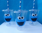 15 Cookie Monster Party Cups, Cookie Monster Birthday Party, Sesame Street, Cookie Monster Cups, Lids and Straws Included