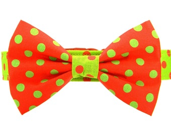 Christmas Bow Tie Dog Collar, Red and Green Polka Dots Dog Collar Bow Tie: Christmas Dots