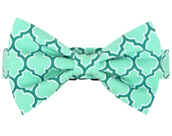 Aqua Turquoise Bow Tie Dog Collar, Dog Collar Bow Tie Set: Seagrove Lattice
