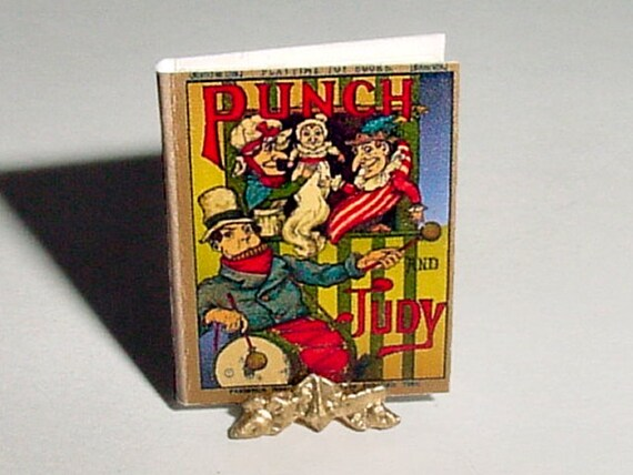 Dollhouse Miniature Book PUNCH and JUDY - Frederick Warne & Co - 1899 - One Inch 1/12 Scale Childrens Nursery Book Accessory