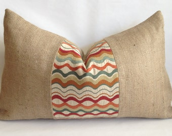 Multi Color Wave Fabric and Natural Burlap Pillow Cover