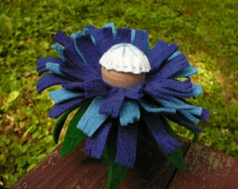 Blue Peg Doll Flower Fairy, Waldorf Inspired, Large Wool Felt Fairy,