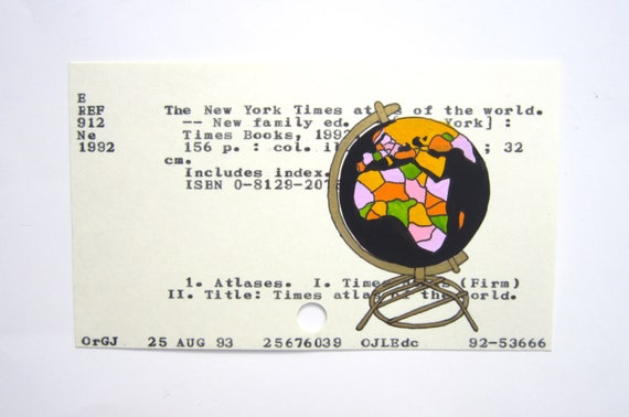 Vintage Globe Library Card Art - Print of my painting of globe on library card for the New York Times Atlas of the World
