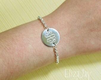 vine monogram round engraved bracelet
